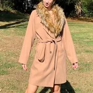 Express Fur Collar Tan Wool Trench Coat